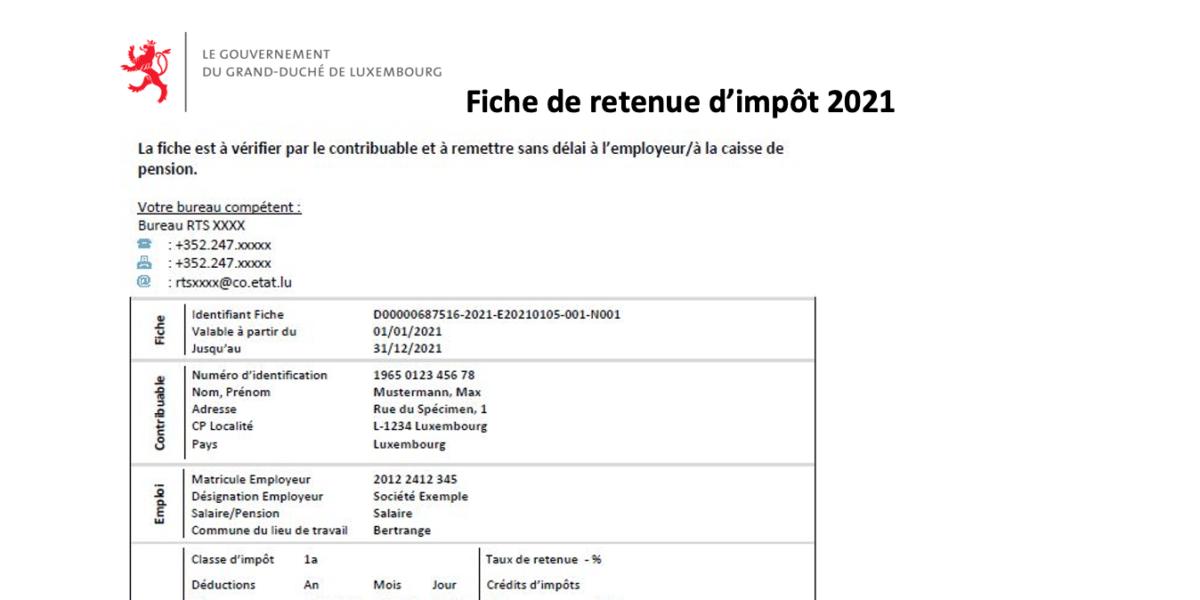 Fiche de retenue d'impôt 2021