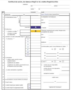 Certificat de retenue d'impôt